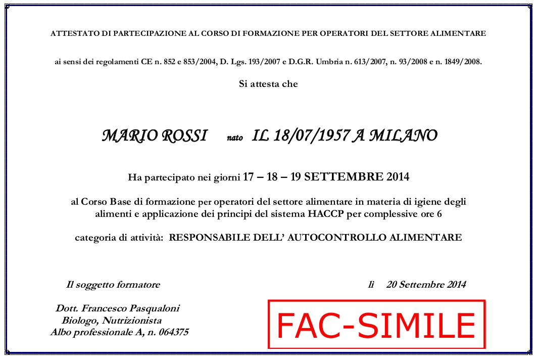fac simile attestato